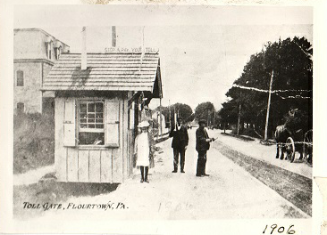 Image of Bethlehem Pike Toll Gate in Flourtown, PA. in 1906.